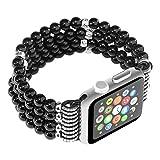 Carhope Apple Watch Band, Fashion Handmade Elastic Stretch Crystal Beaded Bracelet Metal Chain Women Girls Wristband Strap for Apple Watch Series 3/2/1 (42MM-Black)