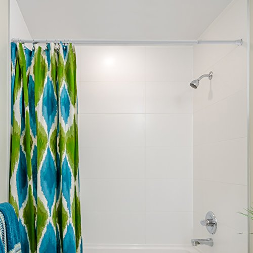 "Tension Shower Rod | Easy Mount Spring Loaded Shower Curtain Rod | Fully Adjustable White – 22"" to 35"" in"