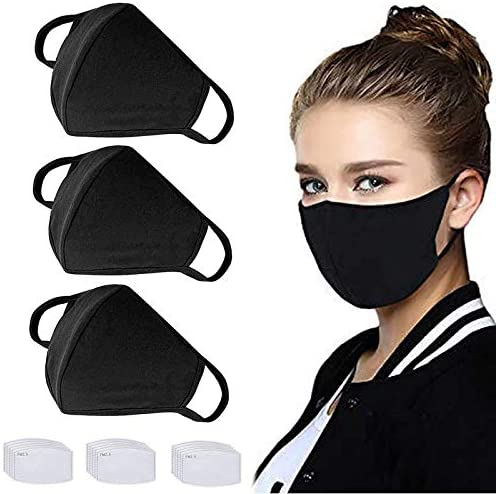 3 Pack Reusable Cloth Face Shields with 30 Pcs Replaceable Filter Paper Washable Protection Set-Black …