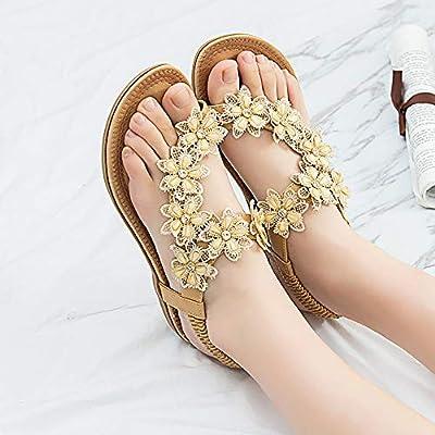 Dizadec Sandals for Women Flat, Womens Flat Sandals Summer Beach Rhinestone Bohemian Slip on Flip Flops Glitter Shoes: Clothing