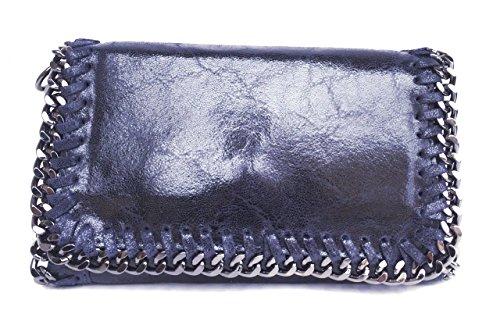 SUPERFLYBAGS Borsa Pochette Donna Vera Pelle Camoscio Stampato lucido con Catena modello Lina Made In Italy Blu scuro