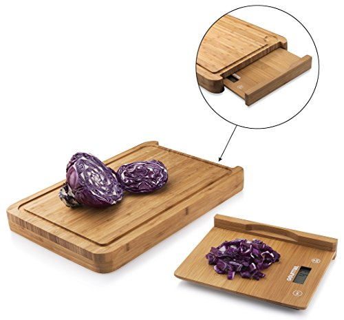Gourmia GKS9140M Cutting Board Digital Scale Bamboo Food Prep Board With Removable Bamboo Kitchen Scale Measures 15