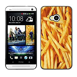Planetar® ( French Fries Junk Food Fast Yellow ) HTC One M7 Fundas Cover Cubre Hard Case Cover