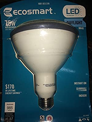 Ecosmart LED BR 40 daylight 75w replacement dimmable bulb uses 13w 1001 013 378