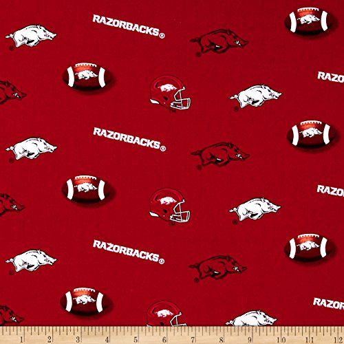 Sykel Enterprises Collegiate Cotton Broadcloth University of Arkansas Razorbacks Fabric By The Yard College Cotton Fabric
