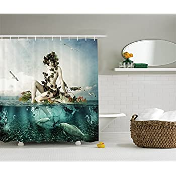 Mermaid Shower Curtain Set By Ambesonne, Woman Sitting On A Shell Birds  Clouds Over Sea