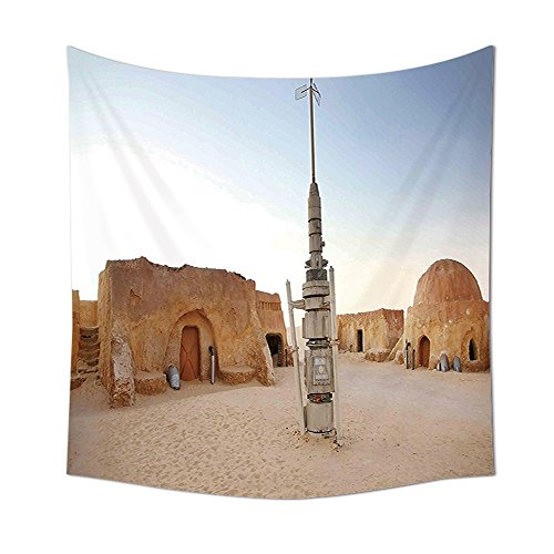 Galaxy Tapestry Wall Hanging Image of Fantasy Movie Set Town of Fantasy Planet Out of Space Galaxy Wars Themed Bedroom Living Room Dorm Decor Brown Blue (Halloween Themed Town Names)