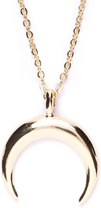 Happiness Boutique Women Half Moon Necklace in Gold Color Delicate Minimalist Necklace Horn Pendant Stainless Steel Jewelry