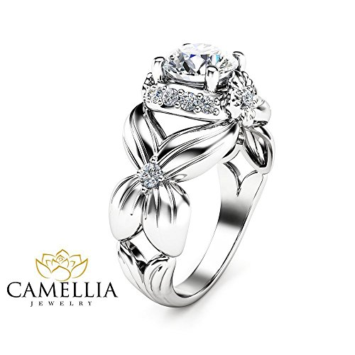 Forever Brilliant Moissanite Ring 14K White Gold Wedding Ring Flower Design Custom Ring with Natural Side Diamonds Nature Inspired Engagement Ring Unique Alternative Bridal Ring