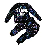 Clode for 2-7 Years Old Girls Boys, Cute Kid Girls Boy Color Paint Letters Long Sleeve Sweater and Long Pant 2 Pieces Clothes Outfit Sports Suit (5-6Years Old, White)
