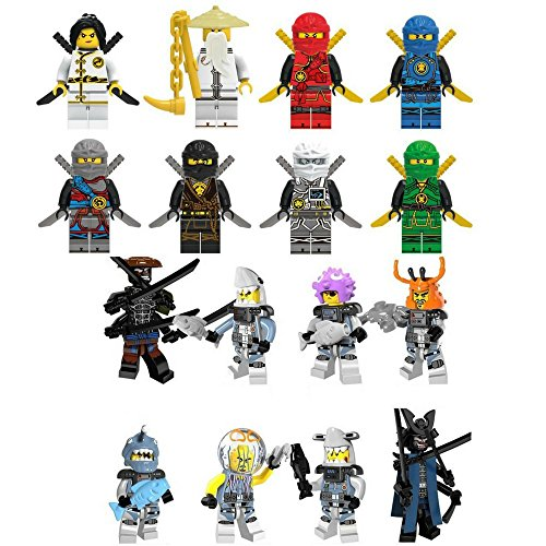 Xmas Hero Ninja Movie and Shark mini Figure Building Block Set 16 pc with Accessories for Party Cake or Cupcake Toppers by Xmas Hero