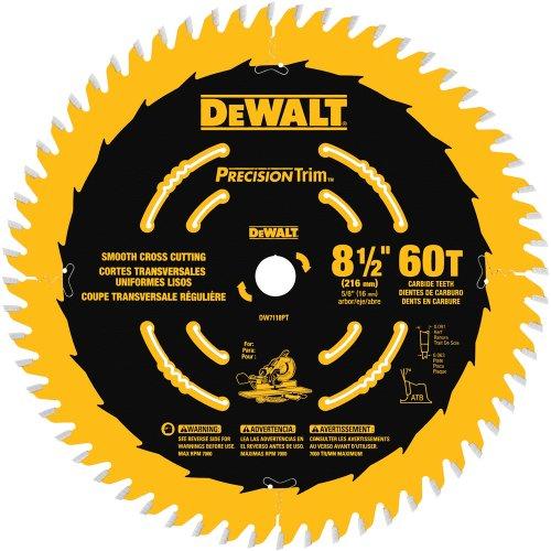 Arbor 60 Teeth 5/8 (DEWALT DW7118PT 8-1/2-Inch 60 Tooth Precision Trim Fine Crosscutting Saw Blade with 5/8-Inch Arbor)