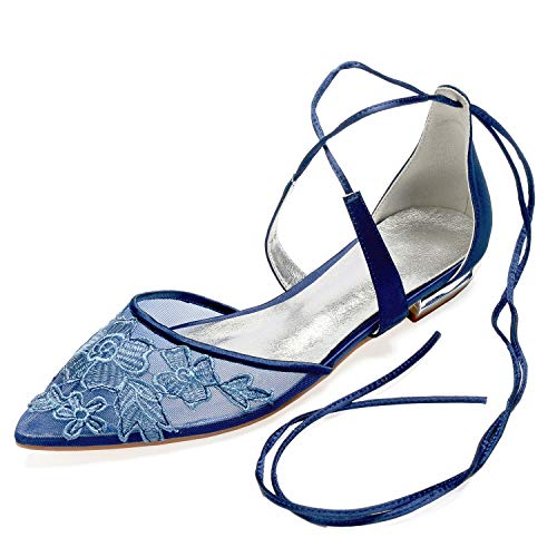 Elobaby Women Satin Spool Wedding Shoes Lace Flower Closed Toe Bridal Mid Silk Dress Party /1.8 cm Heel, Dark Blue, ()