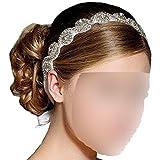 Goege Elegent Luxury Handmade Crystal Rhinestone Jewelry Beads Bridal Wedding Evening Pageants Proms Birthday Christmas Gift Headband Satin Ribbon Hiarband Headwrap Hair Band Accessory White