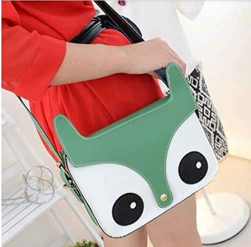 Owl Satchel Handbag Bag Messenger Cute Green Leather Retro Pu Shoulder Fox Sungpunet Crossbody EPSwgqWgU