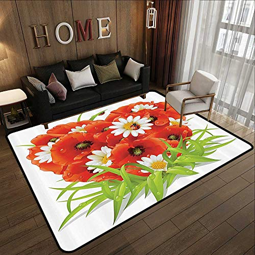 Bathroom Rugs,Ladybugs Decorations Collection,Spring Flowers in Shape of Heart Greenfield Springtime Grass Water Drops Poppy Image,Gre 55
