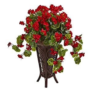 Nearly Natural 8183 Geranium Artificial Stand Planter Silk Plants Red 44