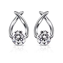 B.Catcher Stud Earrings Cubic Zirconia 925 Sterling Silver Cute Fish Earring Studs Women Jewelry Gifts