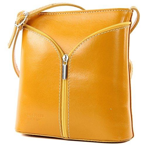 Italian Ladies Handbag, Small Shoulder Type, Ostrich Skin D19 Gelb
