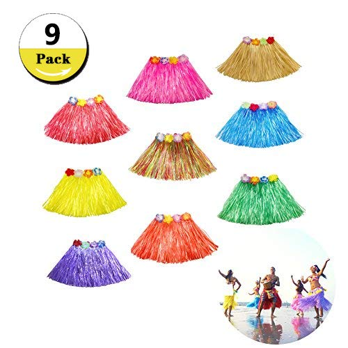 Etyhf 9 Pack Kid's Hula Grass Skirt Multicolor Hawaiian Silk Faux Flower Elastic Luau Hula Grass Skirts for Island Beach Party Favors Dance Dress, 9 Colors
