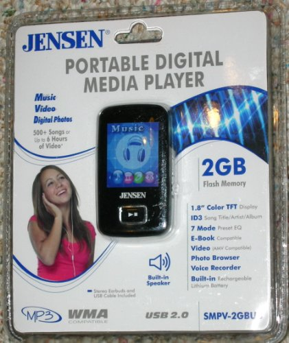Jensen 2GB Flash MP3 Player (SMPV-2GBUB) - Black by Jensen