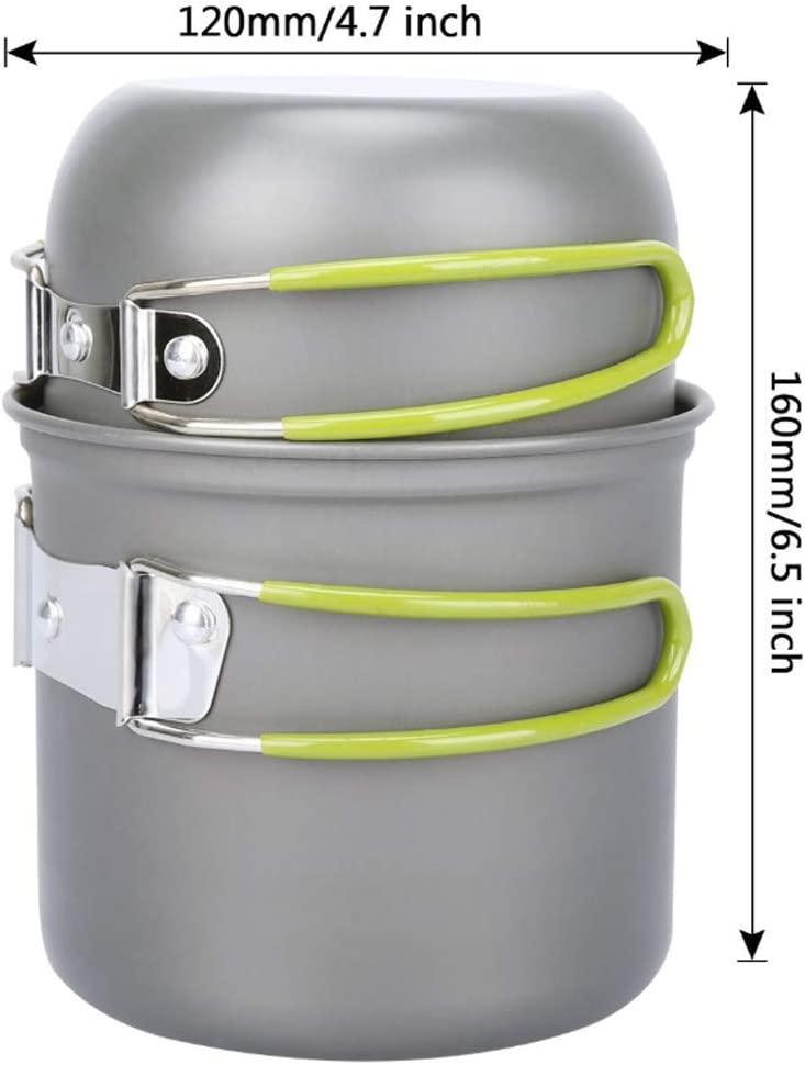 KissAir Camping Cookware Stove Mess Kit Backpacking Pot Pan Cups Outdoors Flatware Cooking Equipment Cookset for Bug Out Hiking /& Picnic