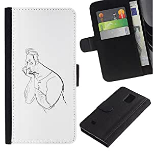 Paccase / Billetera de Cuero Caso del tirón Titular de la tarjeta Carcasa Funda para - Man Drawing Pencil Thinking Art Lonely - Samsung Galaxy Note 4 SM-N910