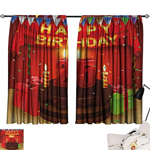 25th Birthday Privacy Assured Window Treatment Triangular Flags Presents Boxes Confetti Rain on Table with Cake Colorful top Darkening Curtains Multicolor W55 x L39 by Jinguizi (Image #6)