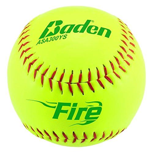 Baden ASA Fire .52 COR/Max 300 Synthetic Cover Slowpitch Softball (Dozen), (Cor Softball)