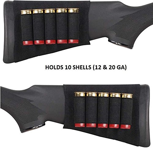 - Ultimate Arms Gear Tactical Stealth Black 10 Round Shotgun Ammo Shot Shell Cartridge Hunting Stock Buttstock Slip Over Carrier Holder Fits 12 / 20 GA Gauge Ambidextrous Use for Both Righty and Lefty Shooters Mossberg 500/590/835/Maverick 88 Pump Action Sporter