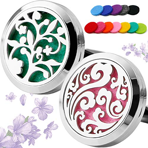 RoyAroma 2PCS 30mm Car Aromatherapy Essential Oil Diffuser, Stainless Steel Locket Air Freshener -