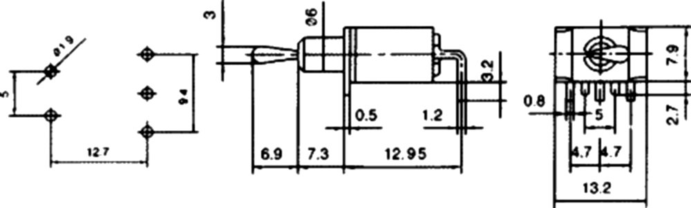 AERZETIX Interrupteur commutateur /à levier DPDT ON-ON 3A//250V 2 positions