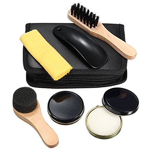 Teanfa 6 In 1 Black Neutral Shoe Shine Polish Cleaning Brushes Travel Leather Shoe Care Set Kit by Teanfa (Image #1)