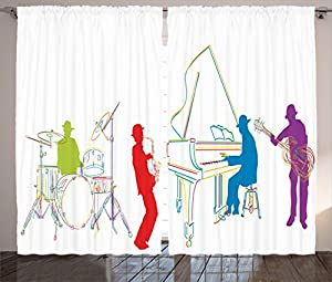 Jazz Music Decor Curtains 2 Panel Set By Ambesonne Vibrant Colored Band With Instruments Modern Illustration Retro Style Art Print Living Room