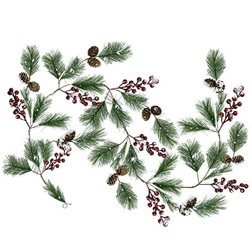 Supla 5.9 Feet Seasonal Artificial Rustic Snowy Pine Needle Red Berry Clusters Mini Pine Cones Garland Christmas Garland Hanging String Wire Vine Holiday Winter Indoor Outdoor Decor (Holiday Decor Rustic)