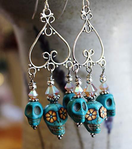 Sugar Skull Chandelier Earrings Turquoise with Flower Eyes Sterling Silver
