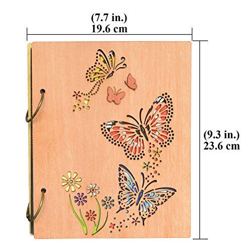 PETAFLOP Photo Album 4 x 6 Butterfly and Flowers Design 120 Photos Wooden Cover Photo Book by PETAFLOP (Image #1)