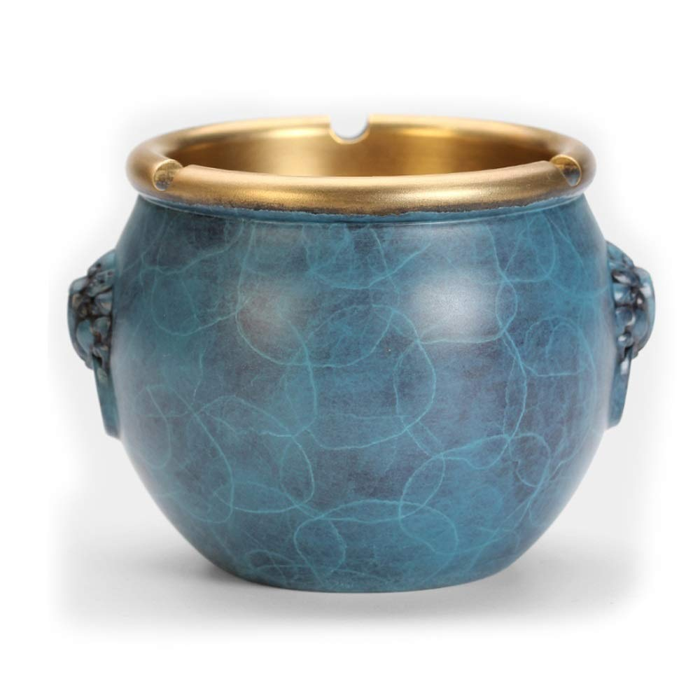 Hongteng Pure Copper Large Ashtray Chinese Home Living Room Office Decoration Gift Copper Ashtray Decoration Lion Head Cylinder Ashtray (Color : Blue)