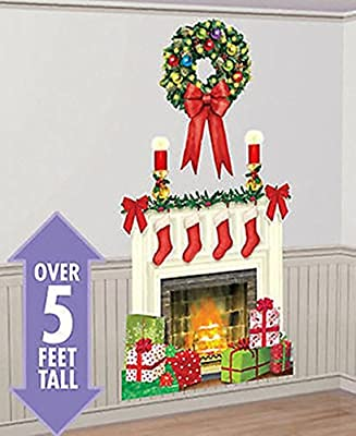 "CHSGJY New Holiday Hearth Scene Setter Christmas Party Wall Sticker Decor kit 5"" Fireplace Stocking Xmas Gift"