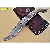 Limited Edition - FNA-32 Custom Handmade Damascus Steel Folding Knife - Beautiful Camel Bone Handle with Damascus Steel Bolsters