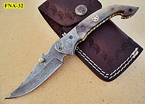 FNA-32 Custom Handmade Damascus Steel Folding Knife – Beautiful Camel Bone Handle with Damascus Steel Bolsters. Knife can vary slightly