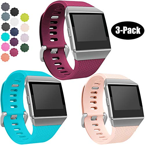 Wepro Bands Compatible with Fitbit Ionic SmartWatch, Watch Replacement Sport Strap for Women Men Kids, Large, Teal, Blush Pink, Fuchsia