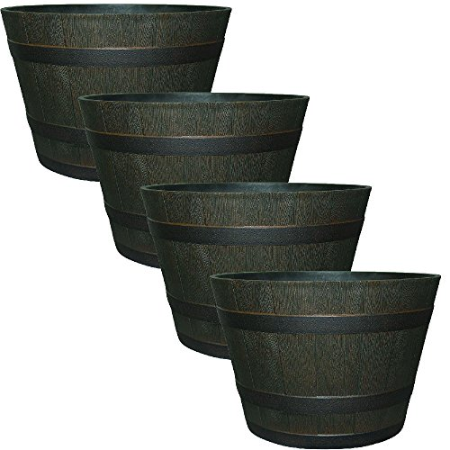 22-1/2 in. Dia Rustic Oak Resin Whiskey Barrel Planter with Iron Band - Iron And Resin