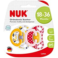 NUK Happy Kids Latex Soother, Age 18-36m, 2 Pack - Girl