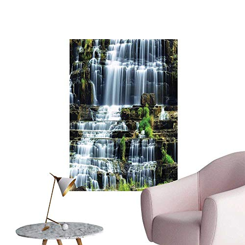 Vinyl Artwork Waterfall in The Middle of Tropical Jungle Natural Scenery Countryside Style Green White Easy to Peel Easy to Stick,32