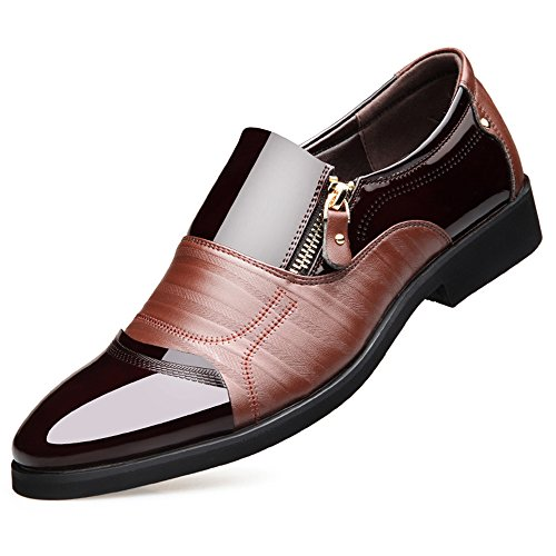 Blivener Men's Oxford Zipper Dress Shoes Slip on Business Shoes Brown US 9.5