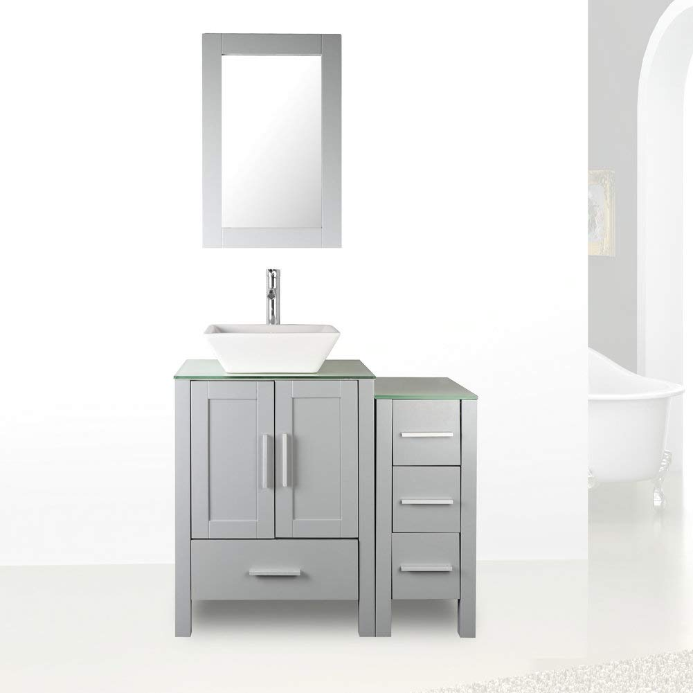 36'' Grey Paint Bathroom Vanity and Sink Combo Glass Top w/Drawer Side,Sink, Faucet set