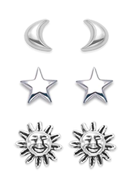 0a15fcc323 Heather Needham Silver - Set di orecchini in argento sterling, sole, luna e  stella; dimensioni: 7mm, 5mm e 5mm. Regalo confezionato.: Amazon.it:  Gioielli