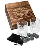 Image of Whiskey Stones Set with 2 Large (7oz) Crystal Whiskey Glasses – Whiskey Set in Handmade Box includes 8 Granite Chilling Stones and Velvet Bag Whiskey Gifts Father's Day Gift