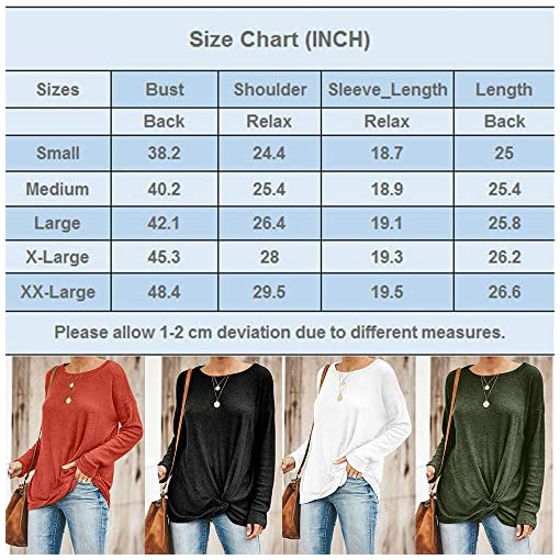 Blibea Womens Fall Long Sleeve Twist Knot Blouse Knit Shirts Casual Tunic Tops